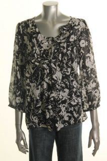 Anne Klein New Tuileries Black Ivory Printed Ruffled Button Down
