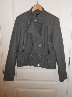 Express Womens Gray wool blend Peacoat Jacket size Large EUC