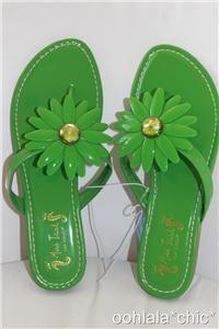 Miss Trish Capri Target Vegan Green Flower Flat Sandals