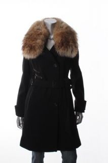 Andrew Marc New Black Belted Real Fur Collar Long Sleeve Wool Coat 8