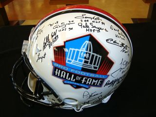 Pro Football Hall of Fame Multi Signed Authentic Riddell Helmet
