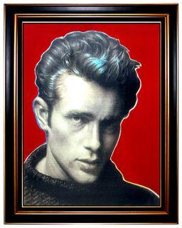 Large Steve Kaufman Sak Acrylic Screenprint Painting James Dean Andy