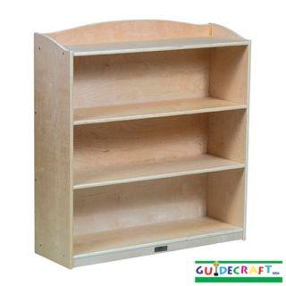 wooden kids single sided 3 shelf wood bookcase natural birch