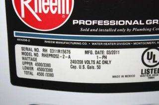 Rheem 50 Gallon Electric Professional Residental Water Heater RHEPRO52