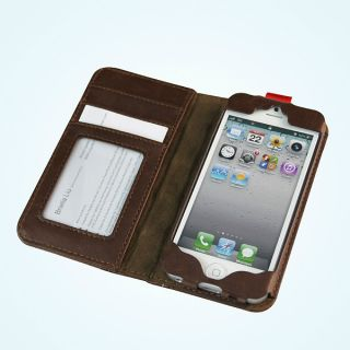 Antique Leather Book Case Cover for The iPhone 5 Protector Defender