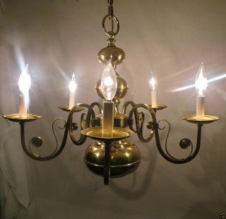VTG ANTIQUE 5 ARM SOLID BRASS LIGHTOLIER CHANDELIER CEILING LIGHT LAMP
