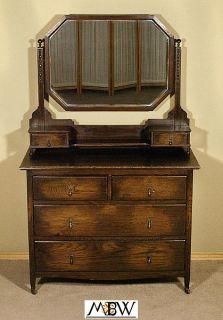 Antique English Dark Oak Dresser Vanity Chest w Mirror