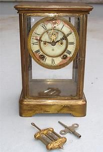 VTG ANTIQUE ANSONIA CRYSTAL REGULATOR CLOCK MERCURY PENDULUM PART