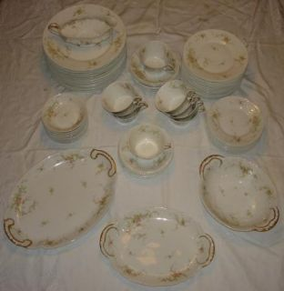 67 Piece Set Antique Haviland Limoges China Pink Roses Floral Spray