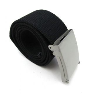 Mens Boys 5 Plain Colors Buckle Canvas Web Military Webbing Waist Belt