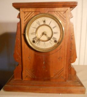 Antique Gilbert Key Wind Wood Case Mantel Shelf Clock