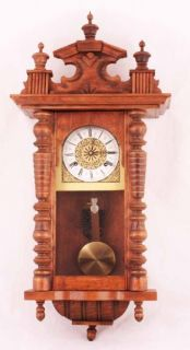 MADE KEY WIND MECHANICAL LARGE WOODEN WALL CLOCK   VINTAGE? HAND MADE
