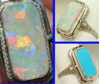 Art Deco Opal Persian Turquoise 14k Gold Filigree Cocktail Flip Ring