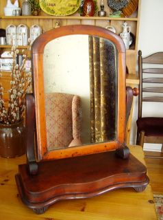 Antique Victorian Shaving Mirror Mahogany Tilting Frame c.1860