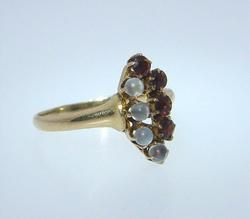 Antique Victorian Gold Garnet Moonstone Navette Ring Vintage Estate