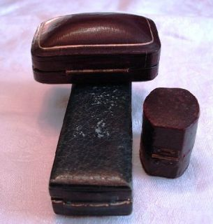 Antique Victorian Leather Jewelry Boxes for Ring Stickpin Dress Studs