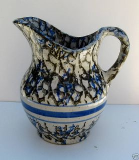ANTIQUE STONEWARE PITCHER SPONGE DECORATED   8   RARE!