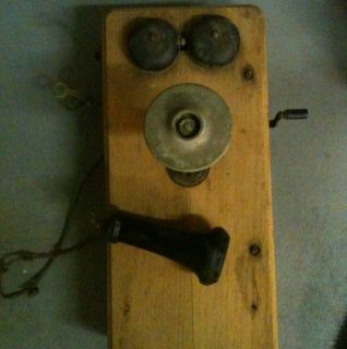 Antique Kellogg Oak Hand Crank Telephone Parts Restore 1900s Victorian