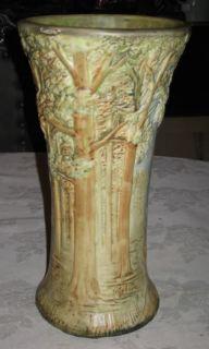 Antique 12 Weller Woodcraft Forest Art Pottery Flower Garden Tree