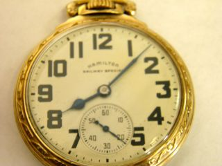 ANTIQUE HAMILTON RAILWAY SPECIAL POCKET WATCH 21 JEWELS, MODEL 992 B