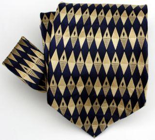 ANTONIA COLLECTION MEN SILK TIE GOLD BLUE DIAMONDS 60 LONG HAND MADE