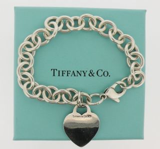 Authentic Sterling Silver Tiffany Co Heart Charm Bracelet