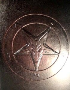 leather bound the satanic bible anton lavey baphomet