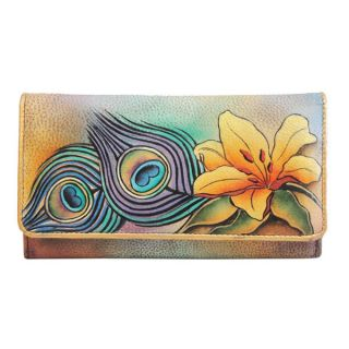 Anuschka Genuine Leather Accordion Flap Wallet Hand Painted Peacock