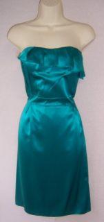 ANTONIO MELANI Blue Green Turquoise Strapless Silk Lined Cocktail