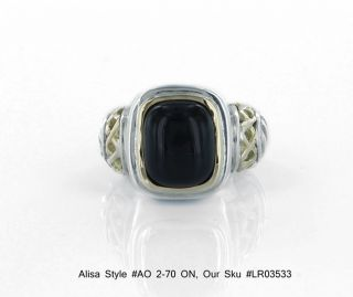 Alisa AO 2 70 on 18K Gold Sterling Silver Ring Set w A Cabochon Cut