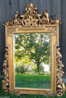 Vintage Gold Leaf Ornate Hall Entry Large 5 Foot Beveled Glass Wall