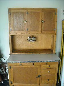 Antique Oak Hoosier Cabinet Cupboard Spice Jars Porcelain Shelf Circa