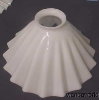 Antique Pleated Milk Glass Petticoat Oil Lamp Chimney Shade C 1880S