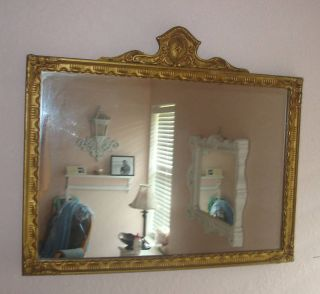ANTIQUE MIRROR WOOD FRAME & FINIAL GOLD GILT FREE SHIP
