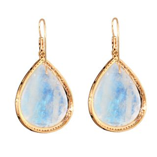 18K Rose Gold Fine Earrings Diamond Moonstone Hook Fashion Jewelry
