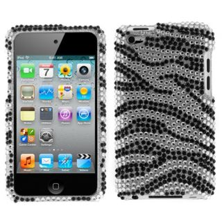 bling zebra crystal hard case snap on for apple ipod touch 4g 4th gen
