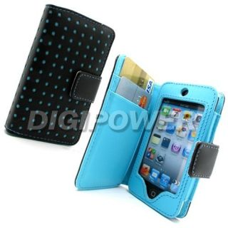 Blue Leather Polka Wallet Case Cover for Apple iPod Touch 4G 4th