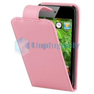 Apple iPod Touch 4 4G 4th Generation Pink Leather Flip Case Skin Cover