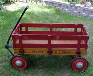 Antique Wooden Toy Kid`s Wagon 6 1 Deluxe Truck Steger