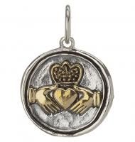 Waxing Poetic Wing A Prayer Claddagh Charm Pendant Silver Icon