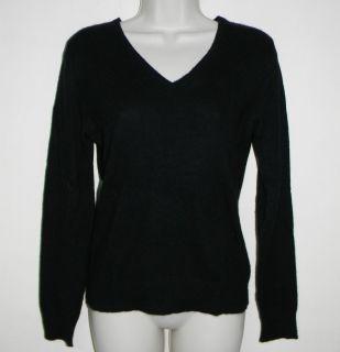 Apt 9 Womens 100% Cashmere Sweater Black V Neck Long Sleeve Soft Size