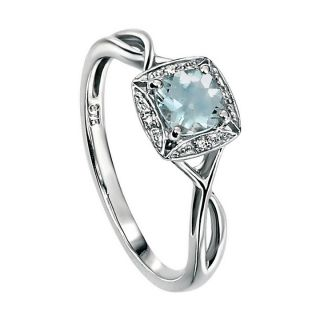 Aquamarine and Pave Diamonds Ring 9ct White Gold with Twist Size N