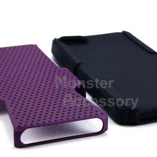 Purple Apex Hybrid Gel Hard Case Cover for Apple iPhone 5 5g 6th Gen
