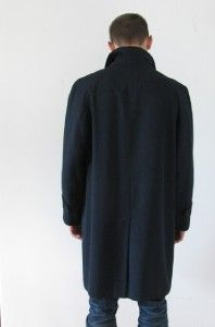 AQUASCUTUM London Black Navy Terylene Worsted Wool Mans Trench Coat