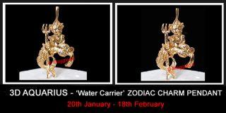 3D Aquarius Water Carrier Zodiac 24K Gold Layered Charm Pendant Life