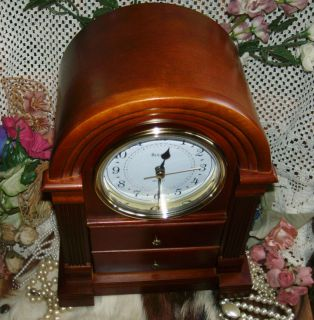 Bulova B1880 Anniston Mantle Clock Wood Jewelry Box Art