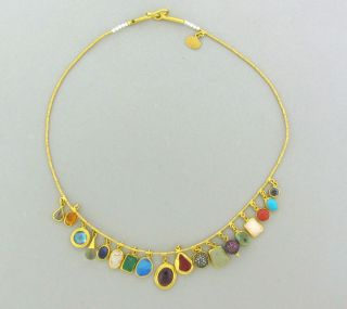 ARA Collection 24K Gold Single Strand Multi Charm Gemstone Necklace
