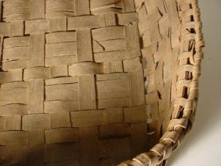 Antique Wood Wooden Woven Gathering Apple Orange Fruit Basket