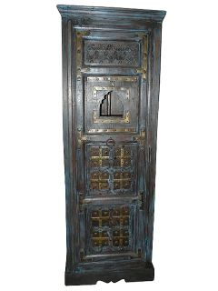 Antique Cabinet Armoire Blue Patina Brass Accent Hand Carved India