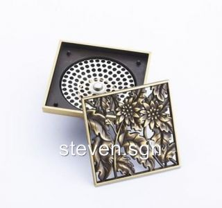 Antique Brass Art Carved Flower Bathroom Floor Drain DL 513